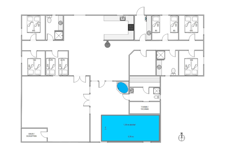 Stort og rummeligt poolhus med spabad og sauna i Sdr. Fjand (billede 6)